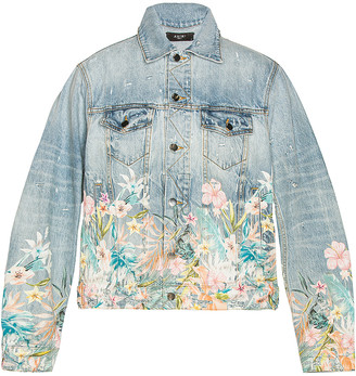 Amiri Floral Leaf Trucker Jacket in Light Indigo | FWRD