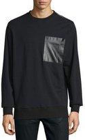 Ovadia & Sons Leather-Pocket Zip Sweatshirt, Black