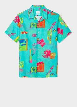Paul Smith Men's Classic-Fit Turquoise 'Up' Print Short-Sleeve Cotton Shirt
