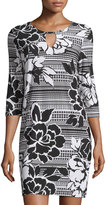 Neiman Marcus 3/4-Sleeve Floral-Print Caftan Shift Dress, Black/White