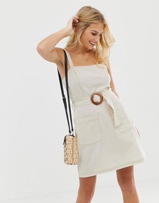 Asos Design DESIGN square neck linen mini sundress with wooden buckle & contrast stitch-Beige