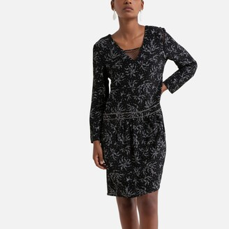 Freeman T. Porter Short Printed Dress with Long Sleeves