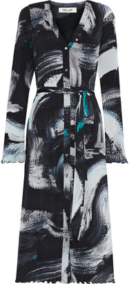Diane von Furstenberg Janalee Belted Printed Stretch-mesh Midi Dress