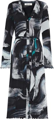 Diane von Furstenberg Janalee Belted Printed Stretch-mesh Midi Dress
