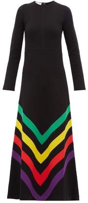 Gucci Chevron-striped Silk-blend Jersey Gown - Womens - Black Multi