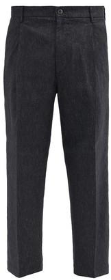 Barena Tartana Linen-blend Trousers - Grey Multi