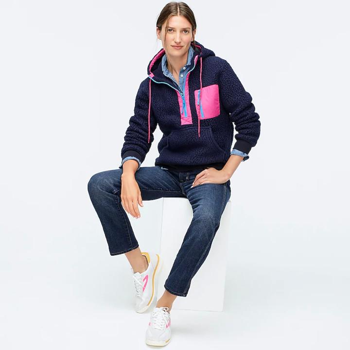 Polartec® sherpa fleece half-zip hoodie