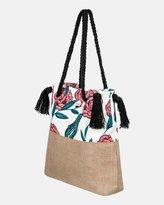 Roxy Gimini Printed Jute Tote Bag