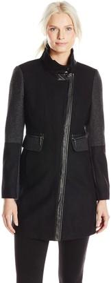 Kensie Outerwear Women's Color Block Wool Coat