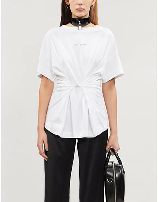 Alyx Logo-print belted cotton-jersey T-shirt
