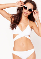 Missguided Cross Over Front Bikini Top White - Mix & Match