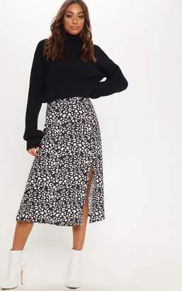 PrettyLittleThing Black Leopard Print Floaty Midi Skirt