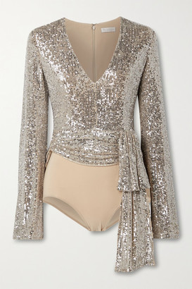 Reem Acra Tie-front Sequin-embellished Tulle And Stretch-jersey Bodysuit - Silver