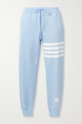 Thom Browne Striped Cotton-jersey Track Pants - Light blue