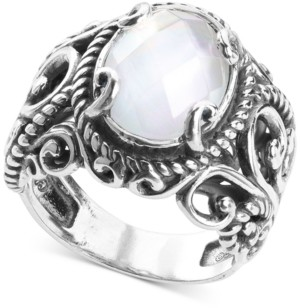 Mother of Pearl Carolyn Pollack Mother-of-Pearl Quartz Doublet Statement Ring in Sterling Silver
