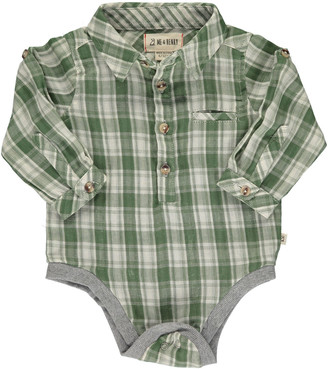 Me & Henry Boy's Plaid Woven Collared Bodysuit, Size 6-24M