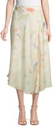Lafayette 148 New York Dessie Printed Silk Midi Skirt