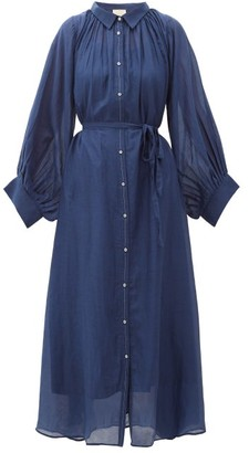 Anaak - Cleo Balloon-sleeve Cotton-blend Midi Shirtdress - Womens - Navy