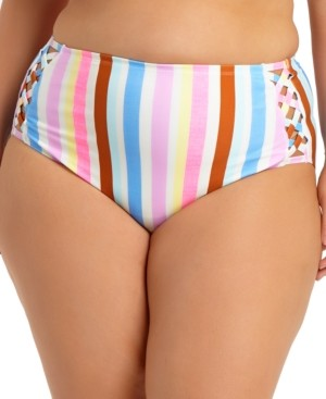 California Waves Trendy Plus Size Striped High-Waist Bikini Bottoms, Created for Macy's Women's Swimsuit