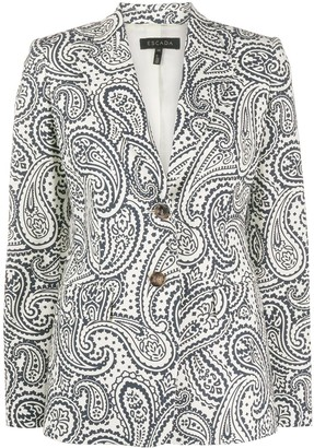 Escada Paisley Print Single Breasted Blazer