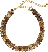Kenneth Jay Lane 12 Brown Shell Choker with 4 Inch Polished Gold Extender Necklace Necklace