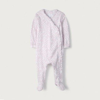 The White Company Ditsy Floral Frill Sleepsuit, White, 18-24mths