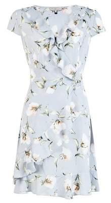 Dorothy Perkins Womens **Billie & Blossom Grey Floral Print Wrap Dress, Grey