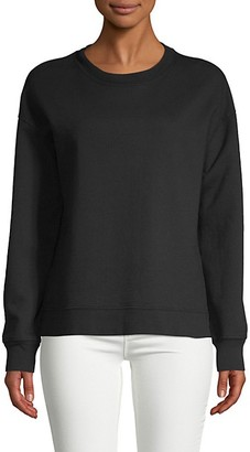 Pure Navy Basic Cotton-Blend Sweatshirt