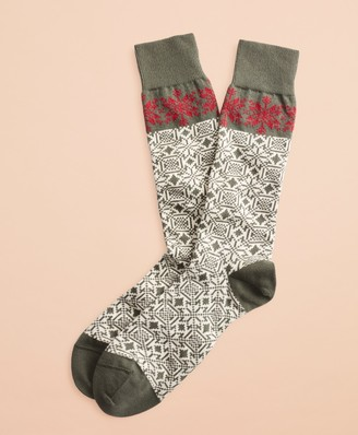 Brooks Brothers Snowflake Cotton Stretch Crew Socks