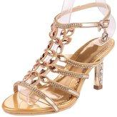 Monie Women's Sparkle Crystal Bridal Heels Luxurious Rosette Wedding Dress Sandals for Bride 6.5B US