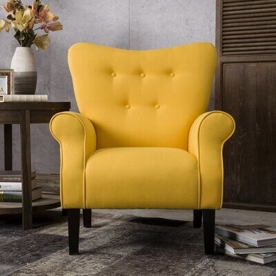 Thumbnail for your product : Red Barrel Studio 31.1'' Wide Tufted Armchair Fabric: Yellow Linen Blend