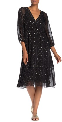 Johnny Was Raja Metallic Dot Tiered Silk Blend Midi Dress