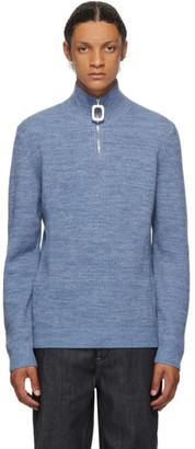 J.W.Anderson Blue Roll Neck Half-Zip Sweater