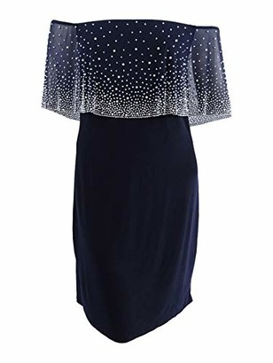 MSK Women's On and Off Shoulder Shift Dress with Beaded Chiffon Overlay