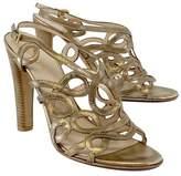 Prada Gold Metallic Leather Sandal Heels