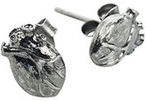 """Bjorg Unisex's 18ct Yellow Gold Plated Sterling Silver """"Black Anatomic Heart"""" Stud Earrings"""