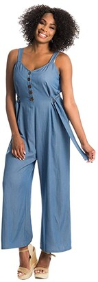 Everly Grey Luciana Maternity/Nursing Romper (Blue) Women's Jumpsuit & Rompers One Piece