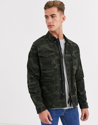 Selected four pocket utility coach jacket in camo-Green
