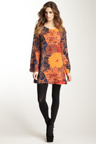 Julie Brown Long Sleeve Silk Shift Dress