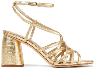 Sam Edelman Daffodil Metallic Smooth And Croc-effect Leather Sandals