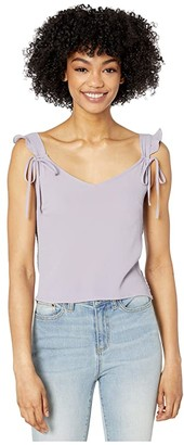 BB Dakota Flutter Cap Bubble Crepe Tank with Smocked Back (Dusty Lavender) Women's Clothing