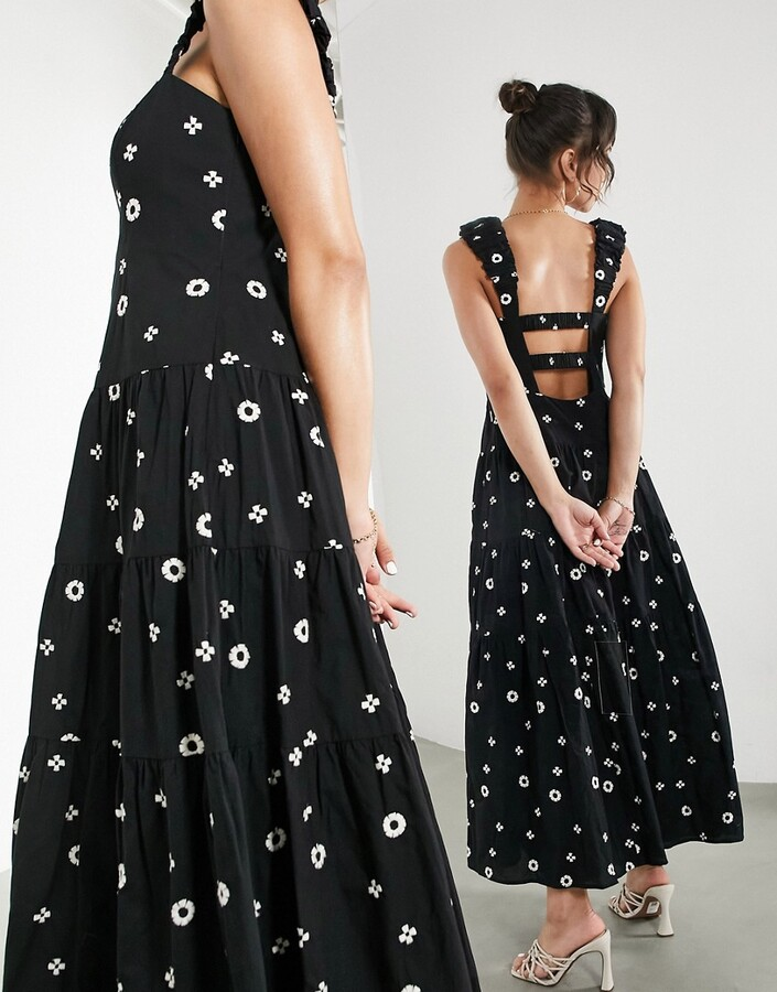 ASOS EDITION midi dress with daisy embroidery with ruffle strap in black