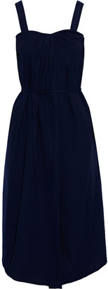 Vince Asymmetric Pleated Linen-blend Midi Dress