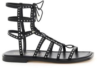 Stuart Weitzman Kora Beaded Lace-up Gladiator Sandals