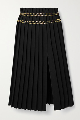Dion Lee Chain-embellished Pleated Crepe Midi Skirt - Black