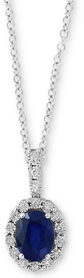 "Effy Sapphire (1-3/8 ct. t.w.) & Diamond Accent 18"" Pendant Necklace in 14k White Gold"