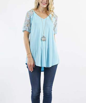 Lydiane Women's Tunics BABYBLUE - Baby Blue V-Neck Lace-Sleeve Curved-Hem Tunic - Women