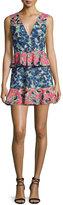 BCBGMAXAZRIA Caron Floral-Print Peplum Fit & Flare Dress