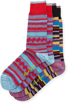 Robert Graham Patterned Socks, Two-Pack, Black/Red