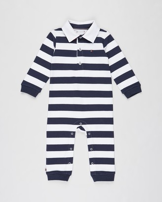 Tommy Hilfiger Rugby Stripe LS Coveralls - Babies